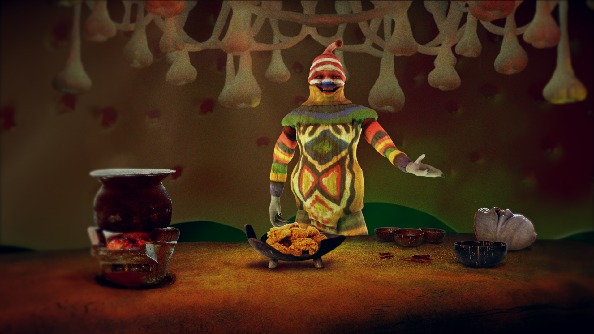 Experimental animated film by Dongjun Kim, MFA Computer Arts. A colorful alien is presenting food that looks like fried chicken.