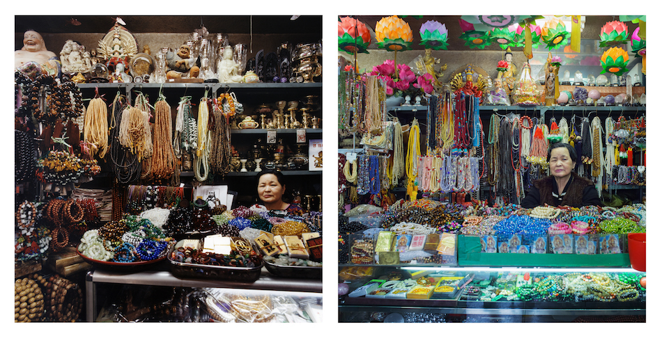 """<p """"="""""""">Two color, square-formatted photographs, side by side, of a shopkeeper in a store filled with necklaces, statuettes and other items."""