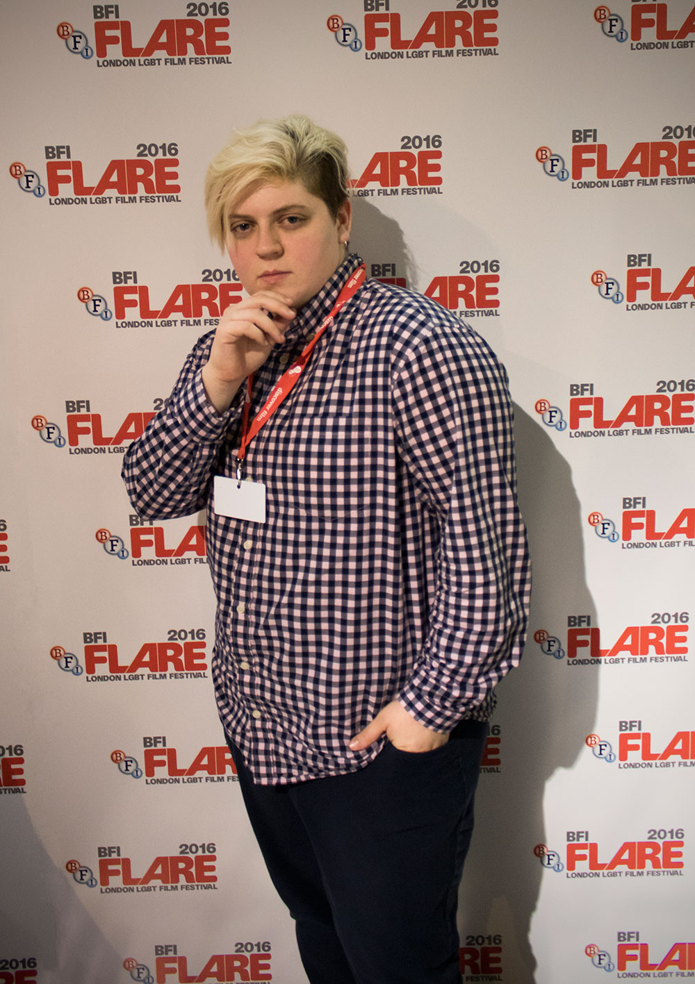 A person posing for a picture at the London LGBT Film Festival.