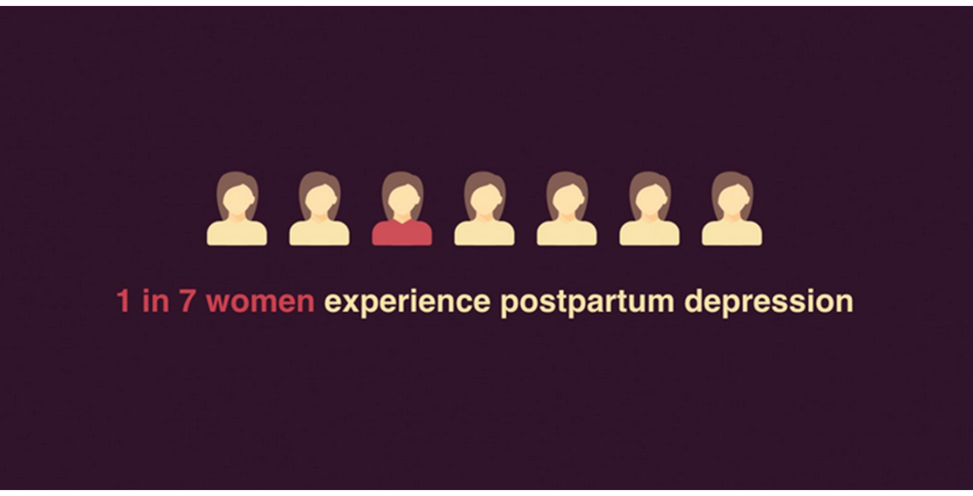 An ad describing the ratio of women who experience postpartum depression.
