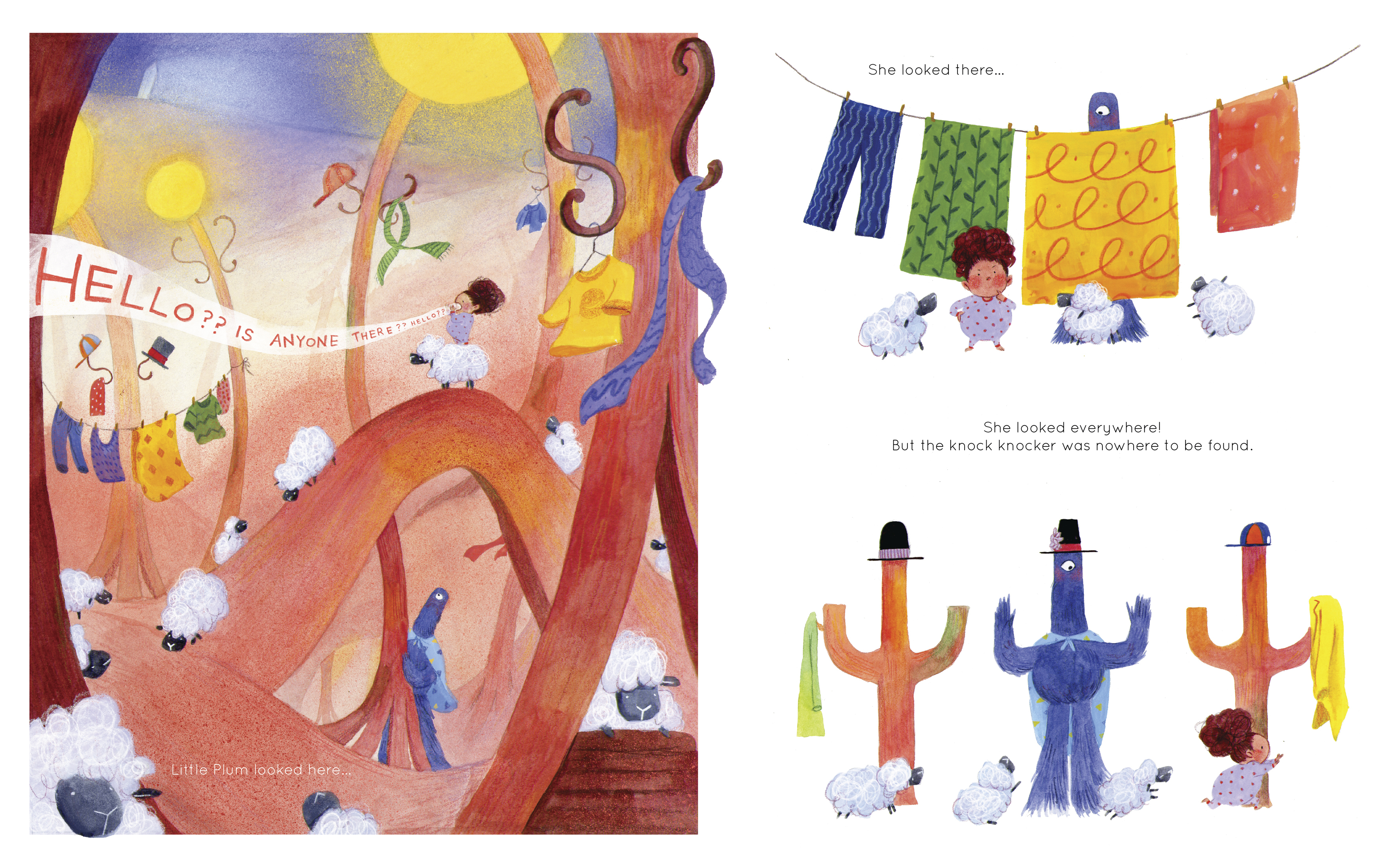 fantastical illustration of a small child searching for something through clotheslines.