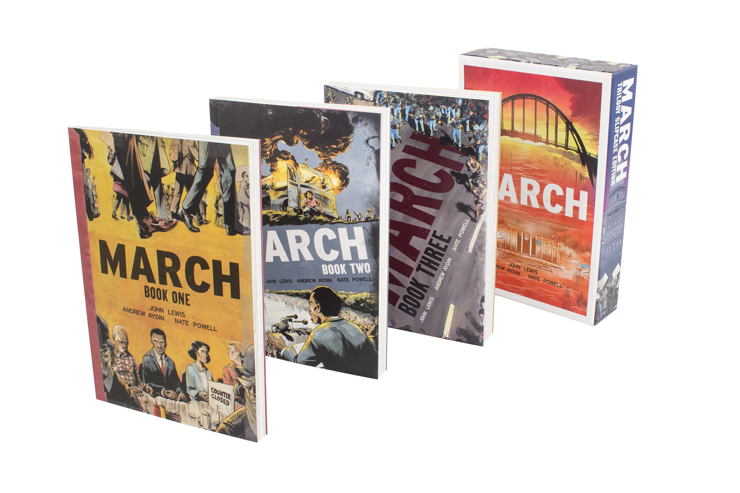 This is a trilogy of books entitled March, books 1, 2 and 3, by author John Lewis.