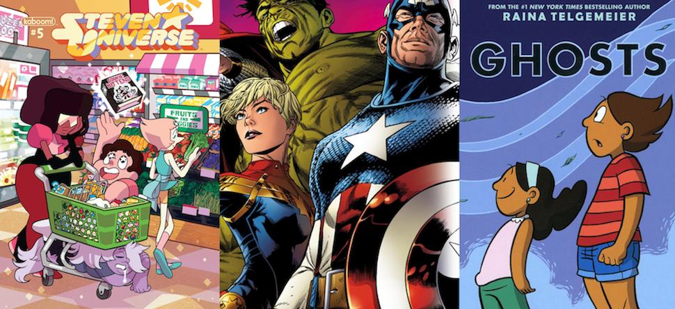 Illustrations of the cover of Steven Universe Issue #5, Marvel Comics superheroes and Raina Telgemeier's <em>Ghosts.</em>