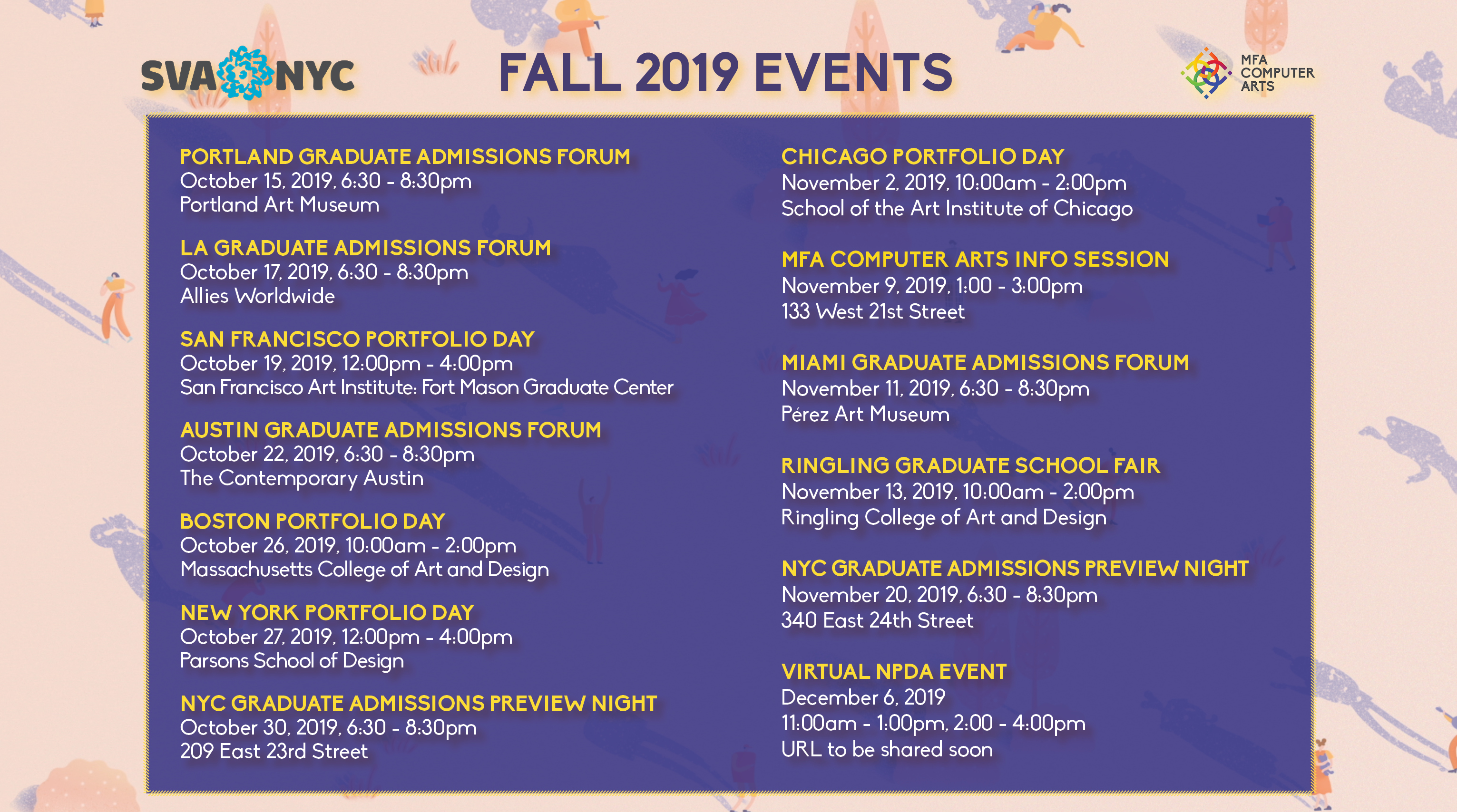 List of information about all upcoming admissions events.  All information is included in post below.