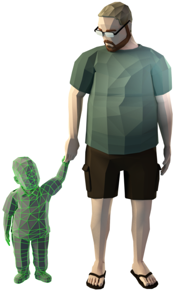 A 3d man holding his 3d child's hand