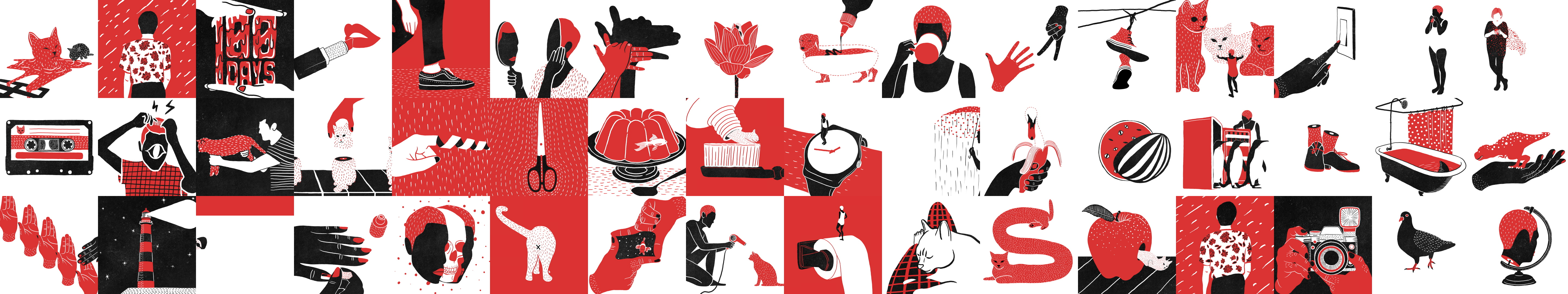 A collage of animation stills. All figures are in red, black, and white.