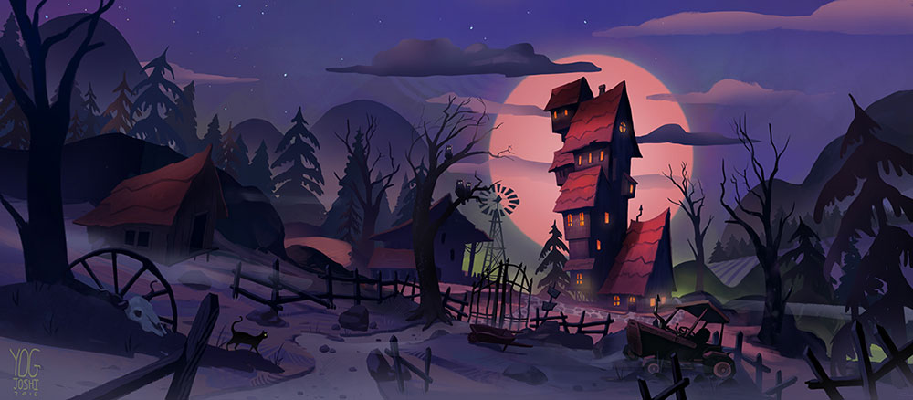 A tall house in a spooky environment