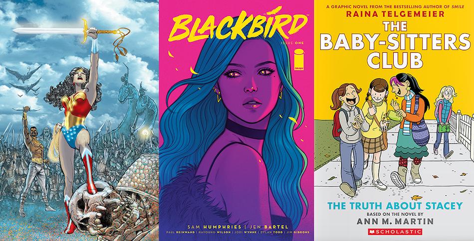 "<p ""=""""><em>Wonder Woman</em> by Phil Jimenez, the cover of <em>Blackbird</em> by Jen Bartel, and Raina Telgemeier's graphic novel <em>The Truth About Stacey</em><em>.</em>"