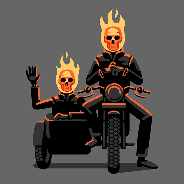 There are two flaming skull skeletons on a motorcycle.