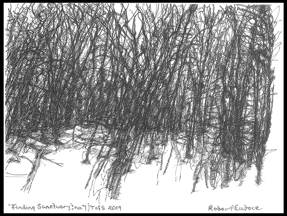"""<p """"="""""""">A black-and-white line drawing that has been signed, dated and titled by the artist."""
