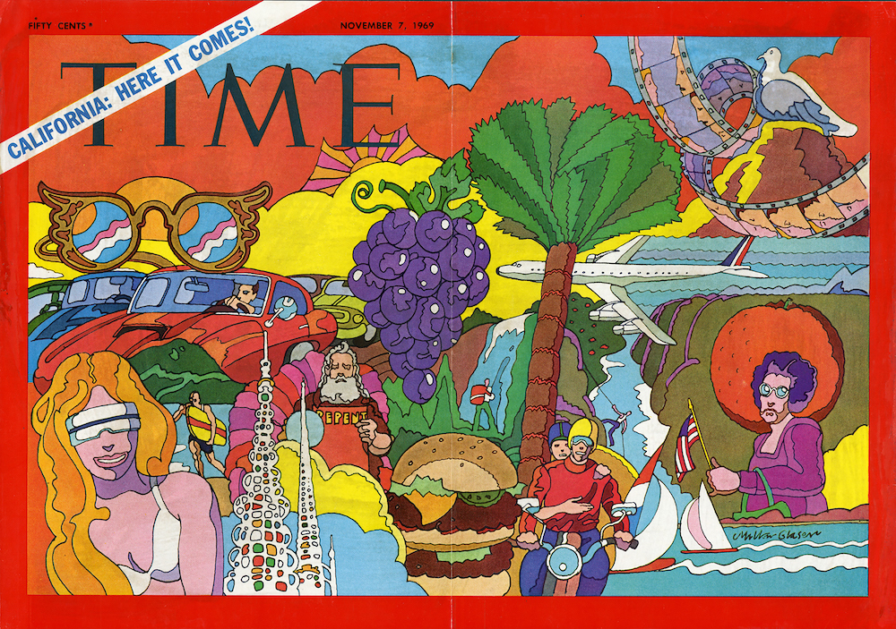 """<p """"="""""""">A foldout cover featuring colorful illustrations of several California landmarks and stereotypes, including palm trees, beachgoers and cars."""