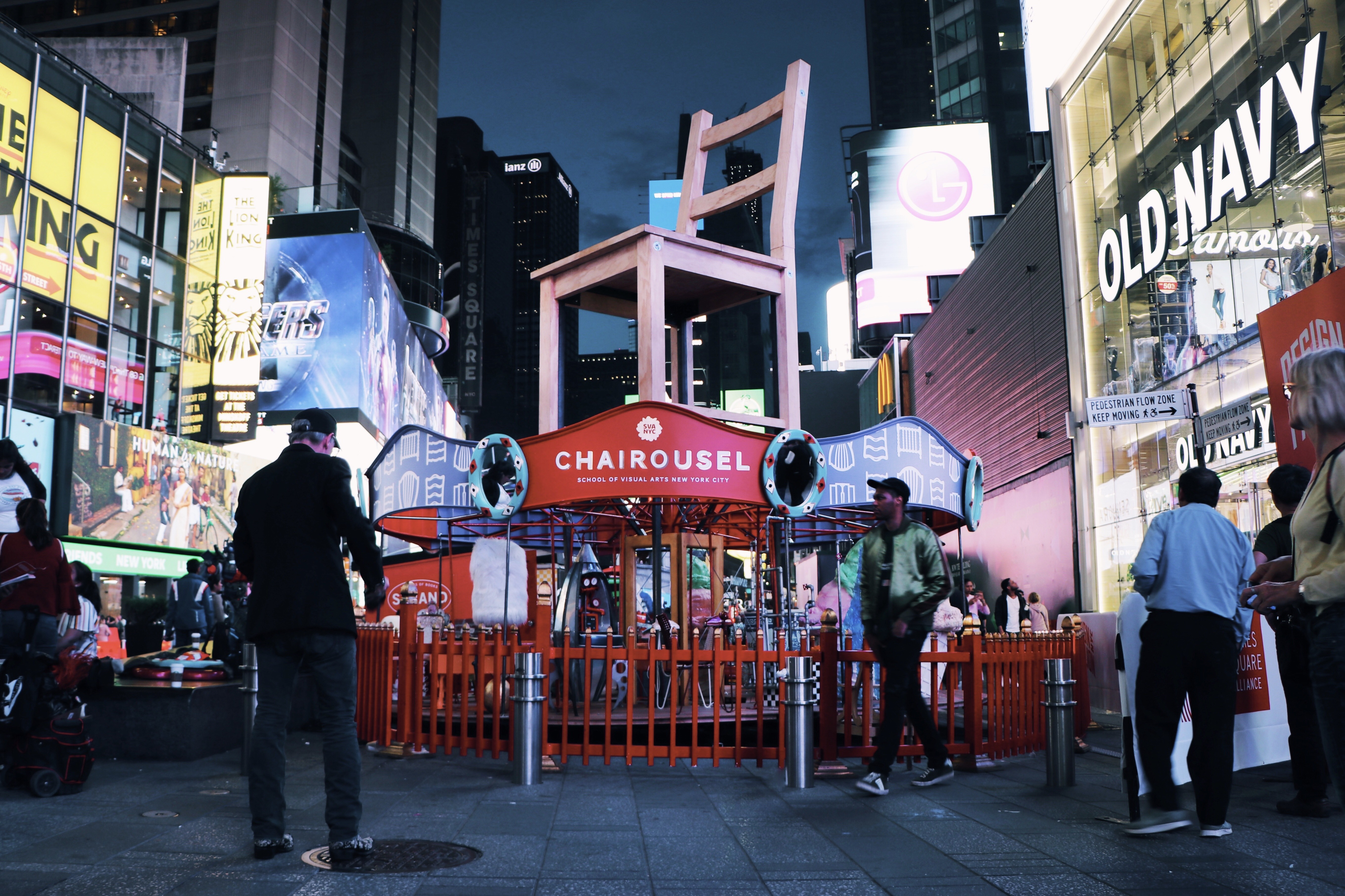 "An image of the new public exhibition of 3D art by students from SVA's BFA Design and BFA Interior Design programs<span class=""redactor-invisible-space"">. ""Chairousel""<span class=""redactor-invisible-space""> is currently up in New York City's Times Square, by Kevin O'Callaghan.<span class=""redactor-invisible-space""></span></span></span>"