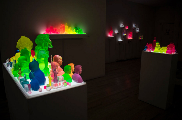 An art display with colorful sculptures