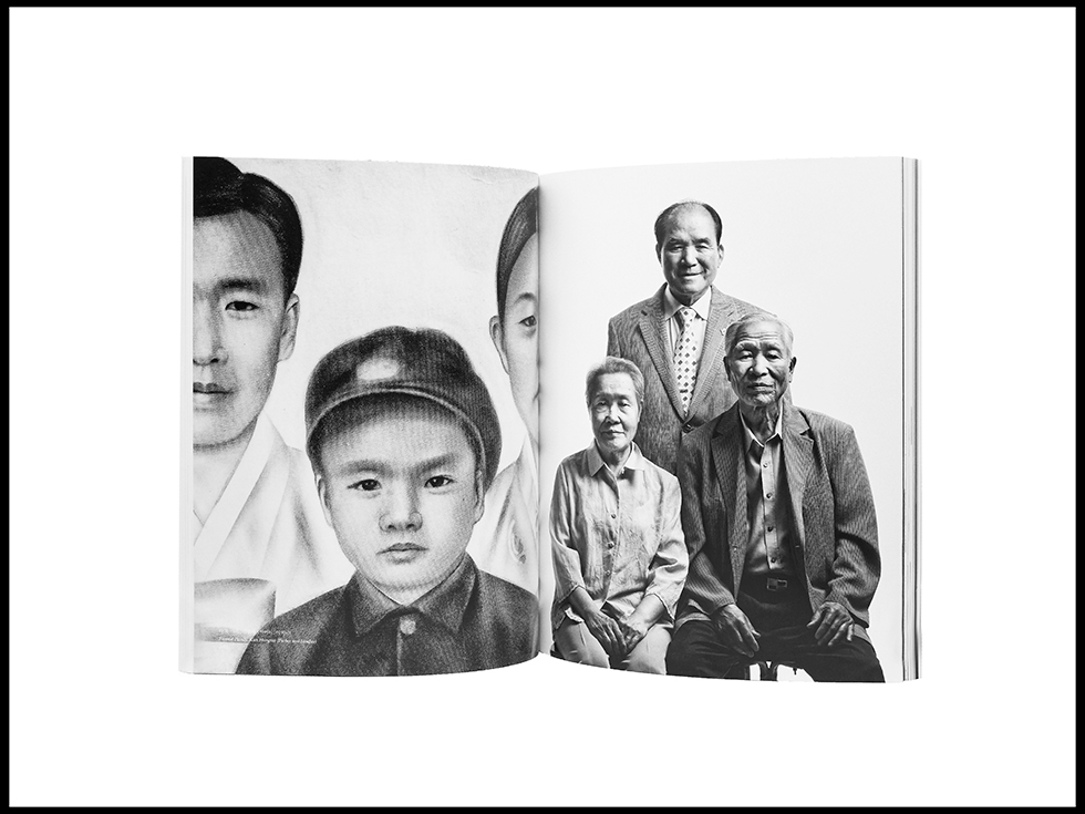 """<p """"="""""""">An open book, showing a black-and-white illustration of two adults and one child on the left page and a black-and-white photograph of three adults on the right page."""