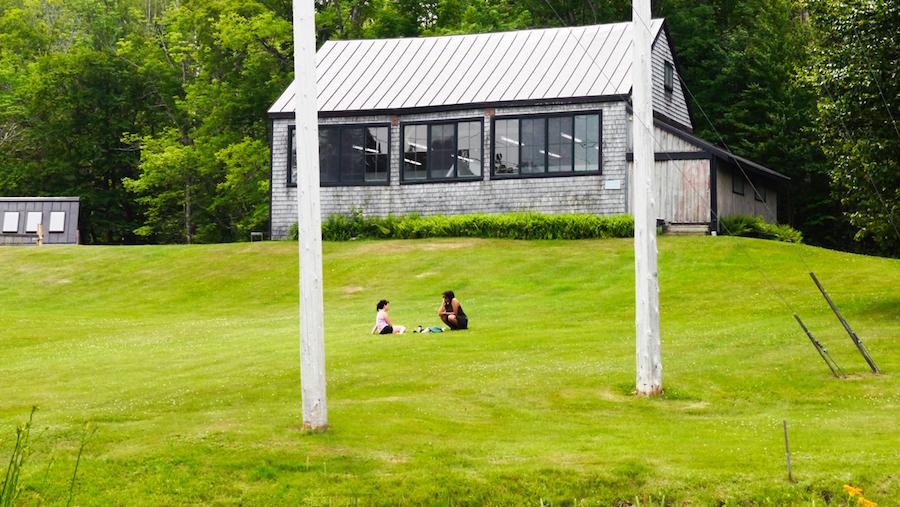 "<p ""="""">Two Skowhegan residents sit on a spacious green lawn."