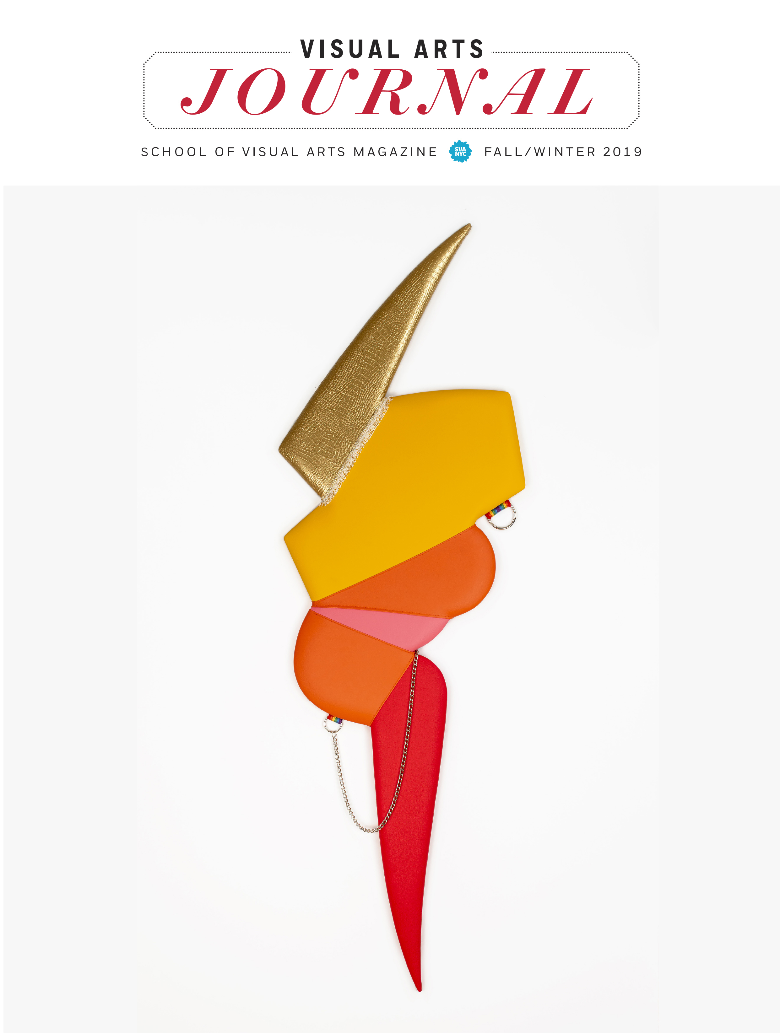 """<p """"="""""""">A cover of a magazine, featuring a lightning-bolt shaped sculpture with gold, yellow, orange, pink and red colors."""