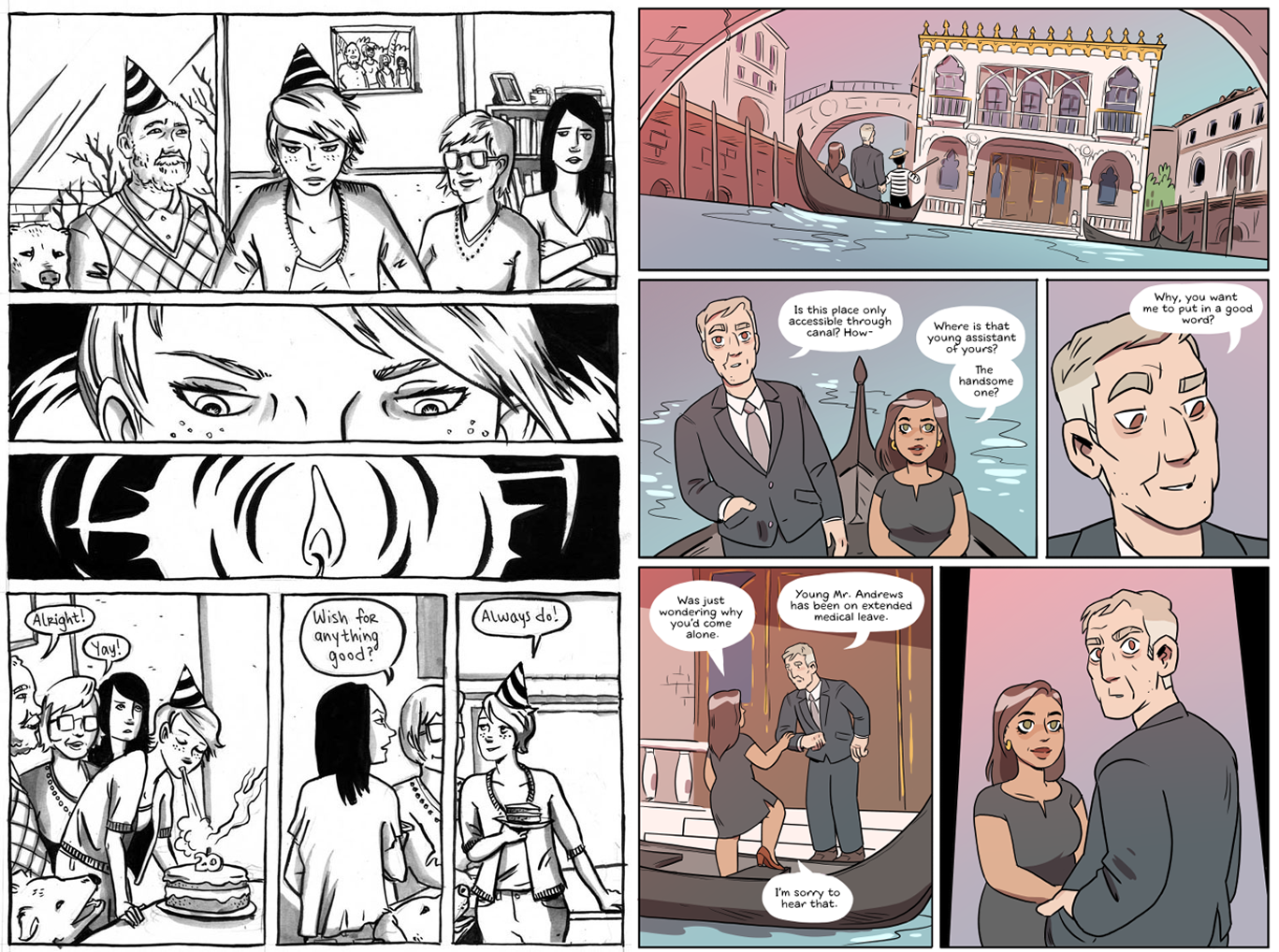 """Pages from Molly Ostertag's ongoing webcomic titled <em>Strong Female Protagonist,</em> courtesy of Ostertag's website.<span class=""""redactor-invisible-space""""></span>"""