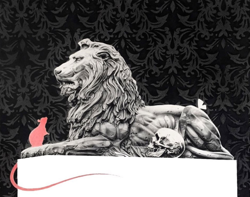 A white lion sculpture and a red mouse on a black background