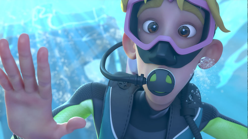 An animated boy with a scuba diving outfit.