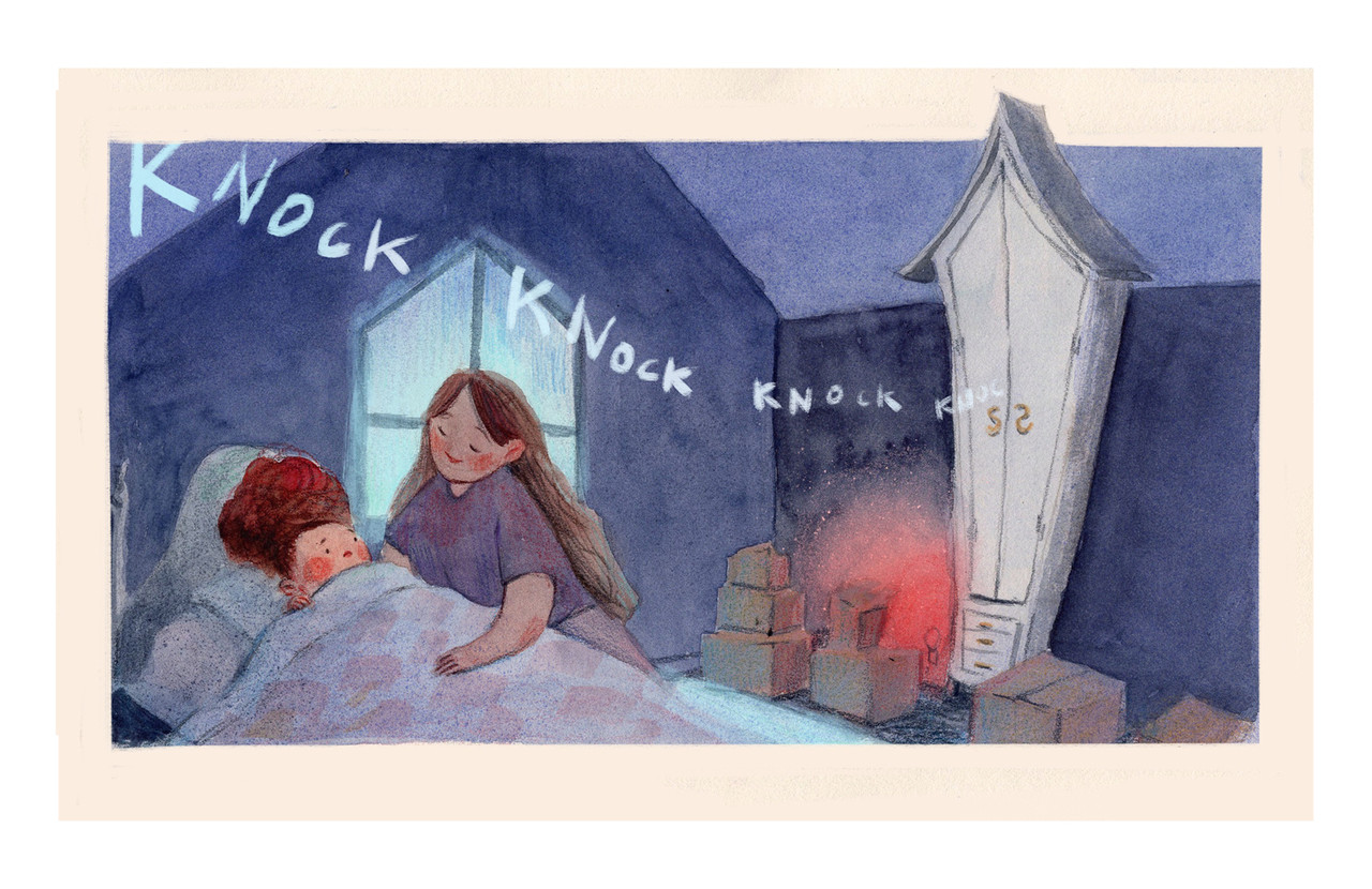 """<p """"="""""""">A color illustration of a girl being tucked into bed, while a knocking sound comes from a nearby closet."""