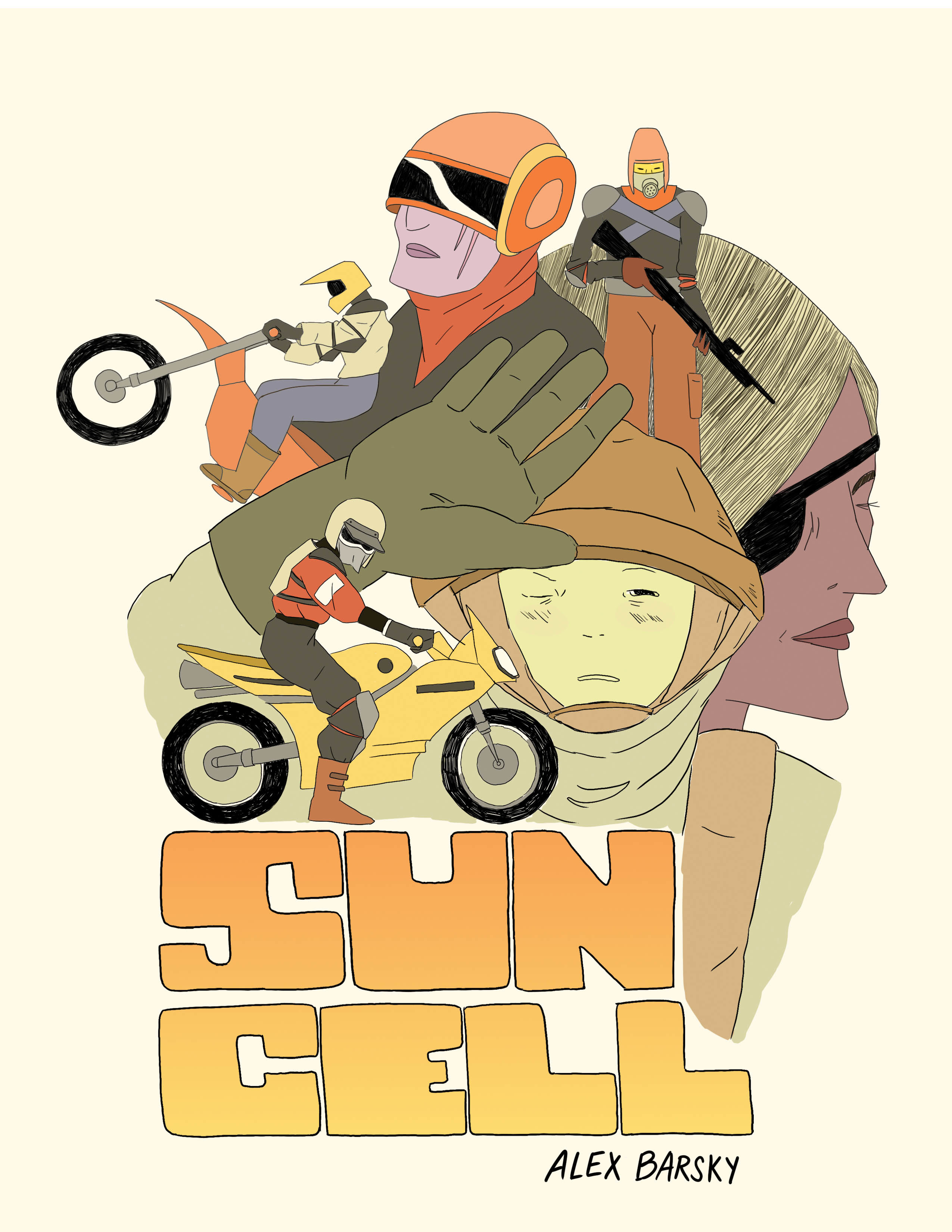 """A cartoon of a few people on dirt bikes, a person with a gun, a woman with an eyepatch, and the words """"Sun Cell"""" and """"Alex Barsky"""""""