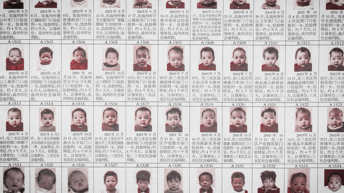 A gridlike series of photographs of young Chinese children and babies.