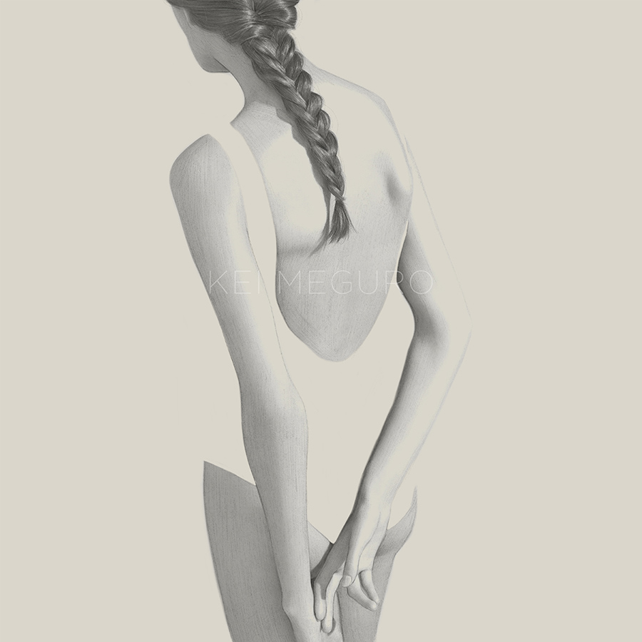 An art drawing of a women from the back.