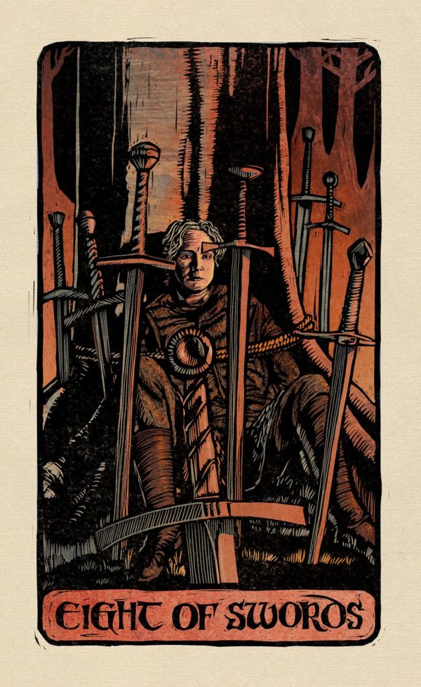 The Eight of Swords card in a deck of Tarot cards. Burnt red colors and black and grey colors. Man with eight swords.
