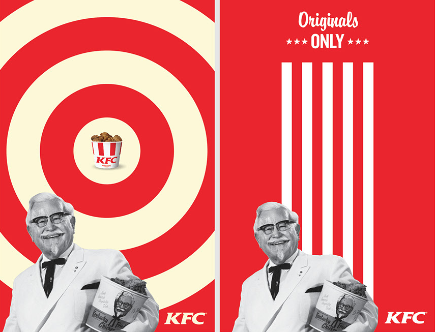 Two original posters of KFC. They are red,white and yellow.