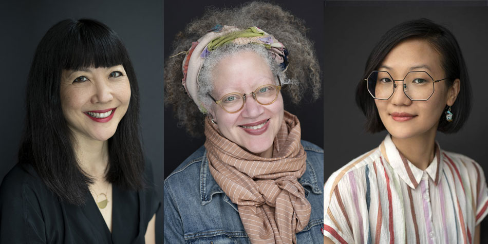 Portraits of new department chairs at SVA:  Miya Osaki, for MFA Design for Social Innovation; Gail Anderson, for BFA Advertising and BFA Design; and Hsiang Chin Moe, for BFA Animation. Photographs by Nir Arieli.